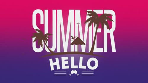 Text Summer Hello with fly birds and palms
