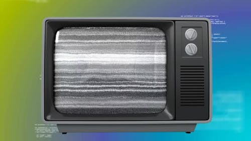 Old TV with cityscape on the screen against becolorful background