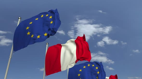 Many Flags of Peru and the European Union