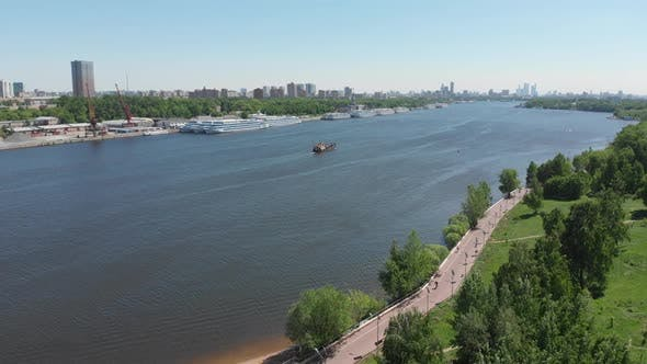Thumbnail for Traffic Along North River Port on Moscow Canal in Moscow, Russia.
