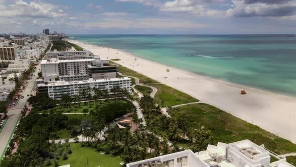 Aerial beach tour Miami FL USA
