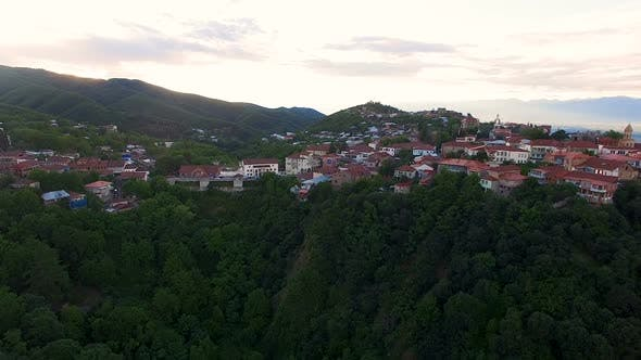 Thumbnail for Amazing Panoramic View of Sighnaghi Town Located on Green Hills, Ecotourism