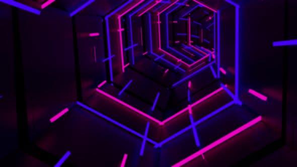Running In Neon Light Tunnel 02 4K