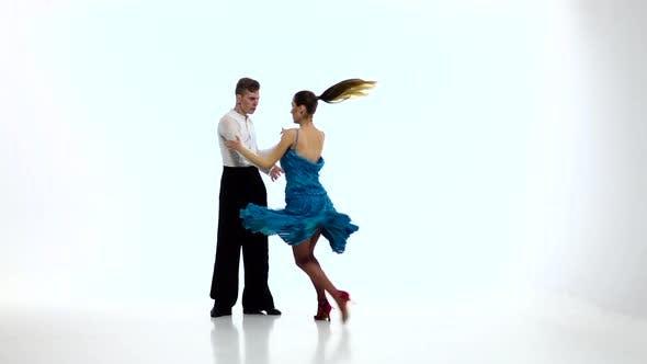 Thumbnail for Jive Dancing Couple of Professional Elegant Dancers,slow Motion. White Studio
