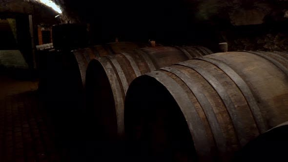 Thumbnail for Wine Barrels Stacked in a Old Cellar at Winery