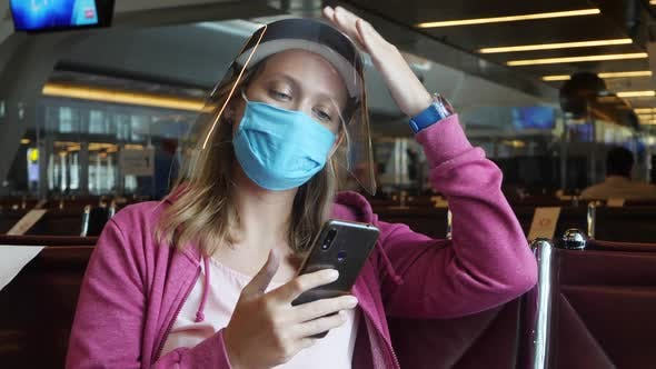 Thumbnail for Woman in Medical Mask and Face Shield in Airport