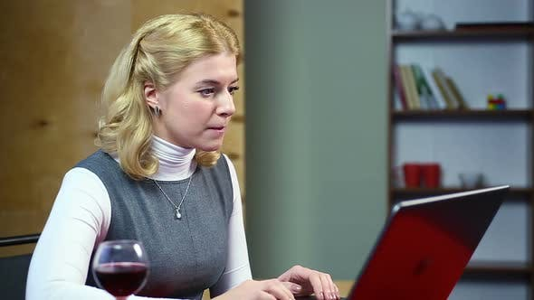 Thumbnail for Blond Woman Typing Fast, Angrily Responding to Email, Feeling Irritated at Work