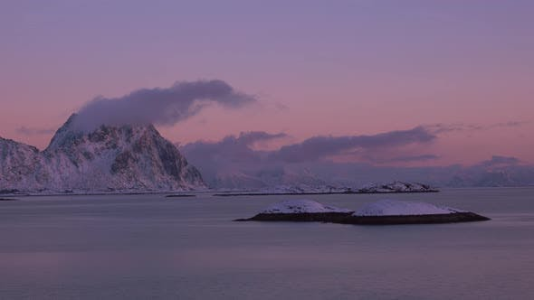 Thumbnail for Winter Sunset over the Fjord