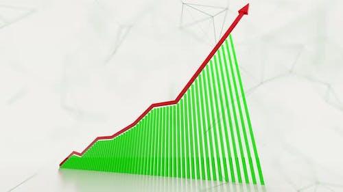 3D Animation Of Rising Bar Graph Following The Arrow 4K