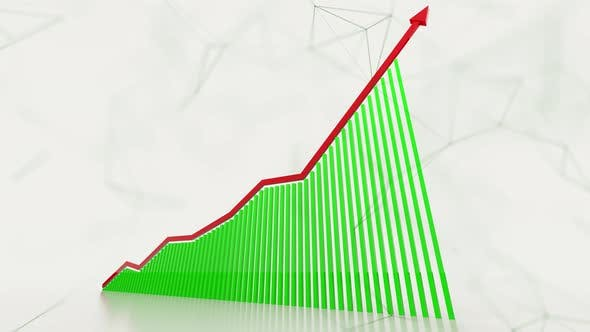 Thumbnail for 3D Animation Of Rising Bar Graph Following The Arrow 4K