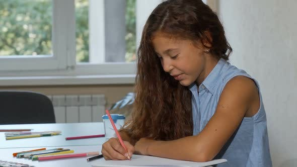 Thumbnail for Adorable Long Haired Girl Enjoying Drawing at School, Smiling To the Camera 1080p