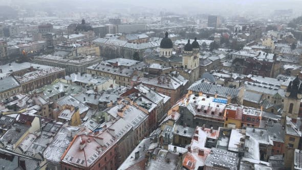 Snow Storm in Old Europe City