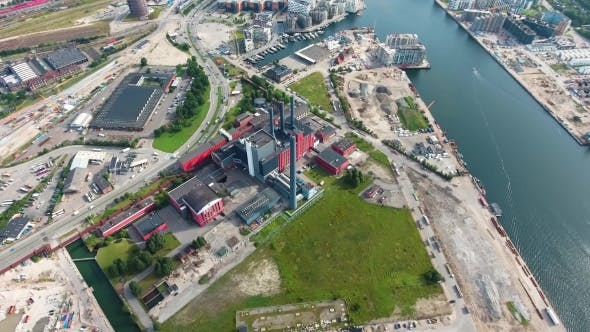Cover Image for City Aerial View Over Copenhagen HC Oersted Power Station