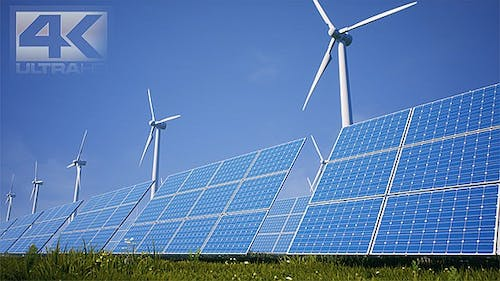 Sun Batteries And Wind Turbines Clean Energy Of Future Ver.1