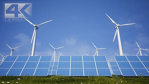 Sun Batteries And Wind Turbines Clean Energy Of Future Ver.2