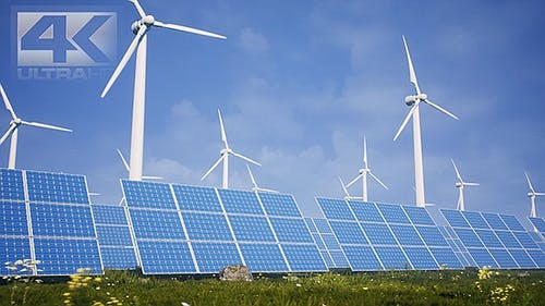 Sun Batteries And Wind Turbines Clean Energy Of Future Ver.3