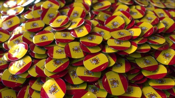 Thumbnail for Pile of Badges Featuring Flags of Spain