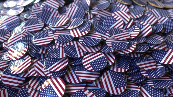 Thumbnail for Big Pile of Badges Featuring Flags of the United States
