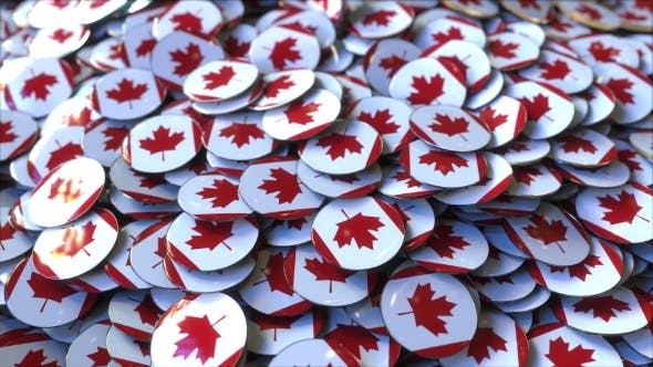 Thumbnail for Pile of Badges Featuring Flags of Canada
