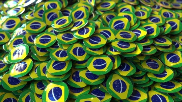 Thumbnail for Pile of Badges Featuring Flags of Brazil