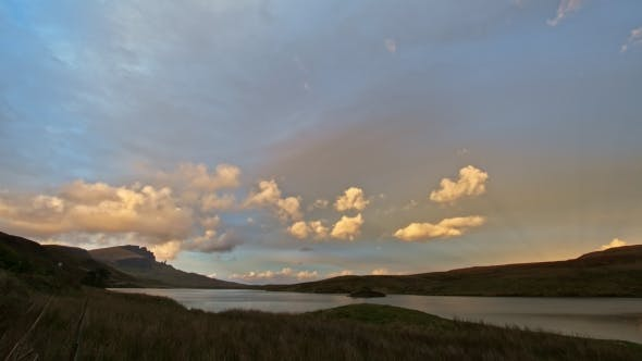 Thumbnail for Sunset in Mountains - Old Man Storr and Lake in Scotland,
