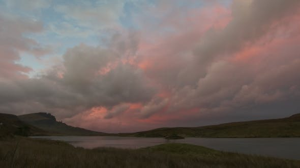Thumbnail for Sunset Over Mountain Old Man Storr Over Lake in Scotland,