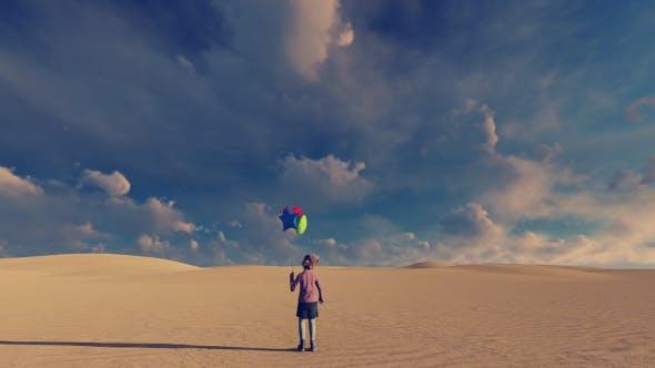 Thumbnail for Little Girl and Desert Surreal Background Video