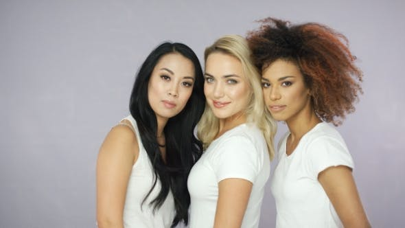 Cover Image for Pretty Women Models in White T-shirts
