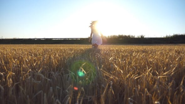 Thumbnail for Follow to Young Girl Running Along the Field with Sun Flare at Background