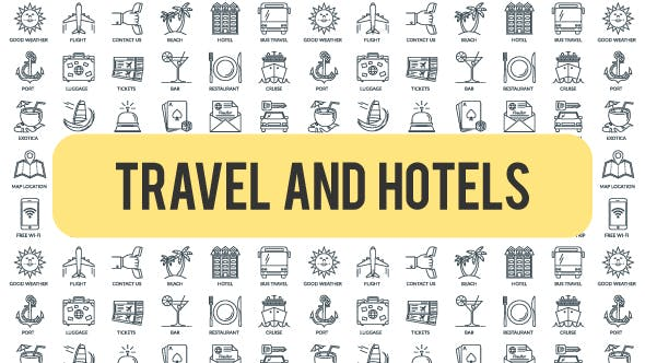Thumbnail for Travel And Hotels - Outline Icons