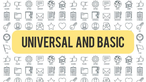 Thumbnail for Universal And Basic - Outline Icons