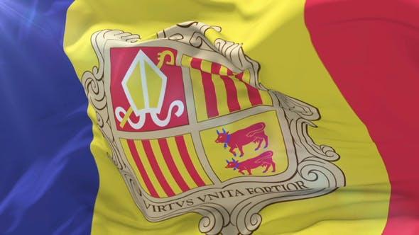 Andorra Flag Waving at Wind