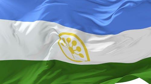 Bashkortostan Flag Waving at Wind