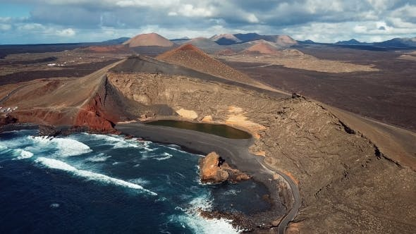 Flying Over Volcanic Lake El Golfo, Lanzarote, Canary Islands