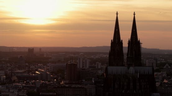 Twin Towers of Cologne Dom Cathedral in Roman Gothic Style