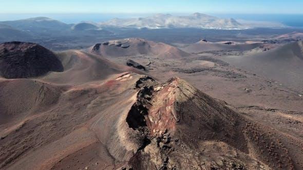 Flying Over Volcanoes Near Timanfaya National Park