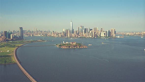 Thumbnail for The Lower Manhattan as seen from a helicopter