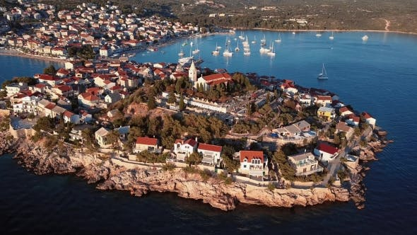 Thumbnail for Sunset Flying over Resort Adriatic Town Primosten in Croatia