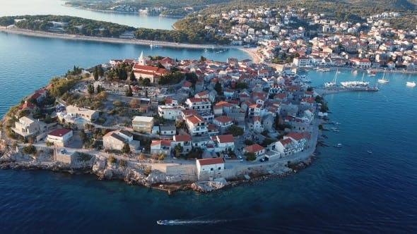 Thumbnail for Sunset Flying Over Resort Adriatic Town Primosten, Croatia