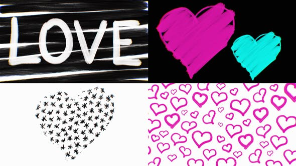 Cover Image for Hand Drawn Valentine Hearts Love Backgrounds