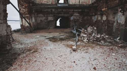 Inside Ruined Orthodxal Temple Red Bricks Walls, Cold Cloudy Day