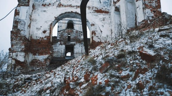 Thumbnail for Ruins of Old Orthodoxal Cathedral Building, Piles of Bricks Covered in Snow