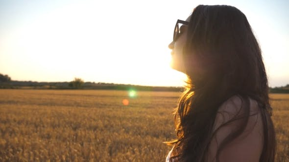 Thumbnail for Beautiful Girl Is Walking Along Wheat Field with Sun Flare at Background. Profile of Young Woman