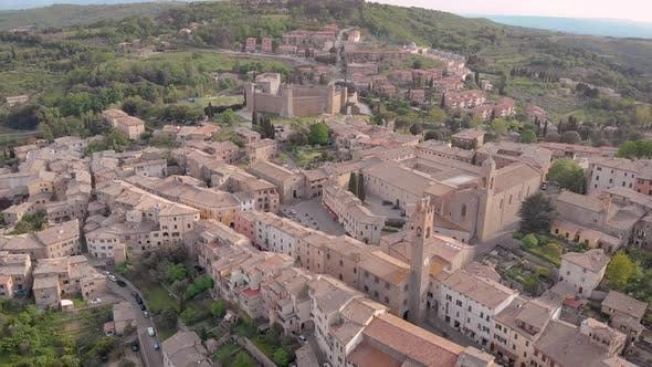 Thumbnail for Aerial Shot Montalcino Medieval City on the Hill Brunello Wine Homeland Tuscany Italy