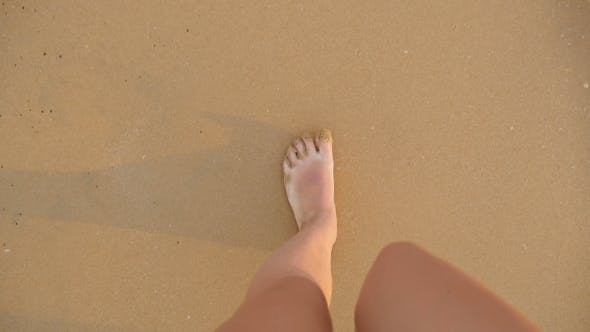 Cover Image for Point of View of Young Woman Stepping at the Golden Sand at Sea Beach Female Legs Walking Near