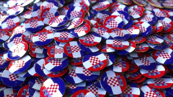 Thumbnail for Pile of Badges Featuring Flags of Croatia