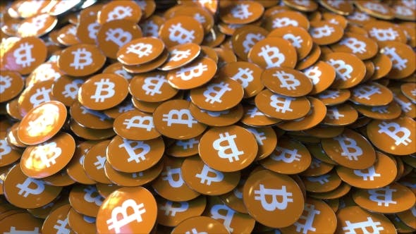 Thumbnail for Pile of Badges Featuring Bitcoin Logo