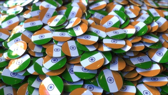 Thumbnail for Pile of Badges Featuring Flags of India