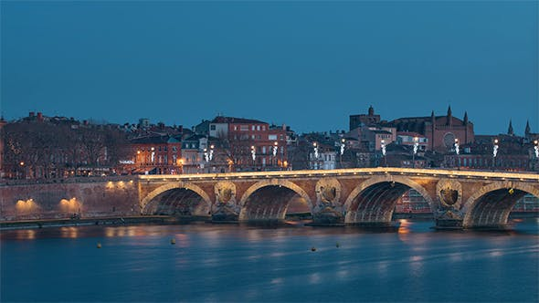 The French city of Toulouse, France filmed from day to night