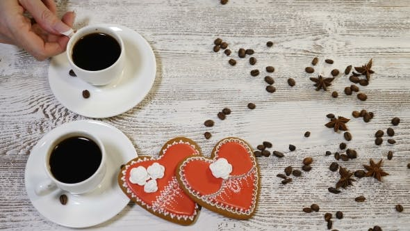 Couple Relations StValentine`s Day Concept of Two Cups of Coffee One Is Held By Female
